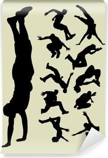 Vinyl Fotobehang Parkour silhouetten
