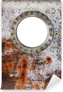 Vinyl Fotobehang Patrijspoort frame aan de oude verroeste schip - nautische venster