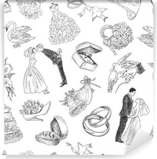 Vinyl Fotobehang Patroon van de bruiloft symbolen