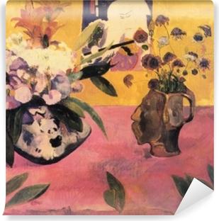 Vinyl Fotobehang Paul Gauguin - Stilleven met een hoofdvormige vaas en een Japanse houtsnede