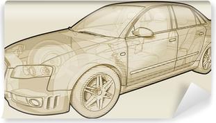 Vinyl Fotobehang Perspectief schetsmatig illustratie van een Audi A4.