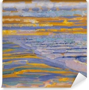Vinyl Fotobehang Piet Mondriaan - Gezicht op strand en pier vanaf de duinen, Domburg