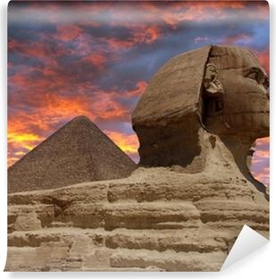 Vinyl Fotobehang Piramide en de Sfinx van Gizeh, Caïro