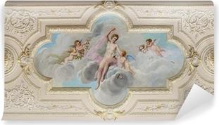 Vinyl Fotobehang Plafondschildering met een afbeelding van een vrouw en engeltjes