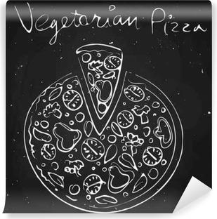 Vinyl Fotobehang Plantaardige pizza, getekend met krijt op een schoolbord