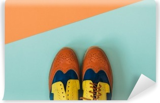 Vinyl Fotobehang Plat fashion set: gekleurde vintage schoenen op gekleurde achtergrond. Bovenaanzicht.