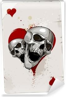 Vinyl Fotobehang Poker kaart met schedels