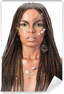 Vinyl Fotobehang Portret van een Afrikaanse Amerikaanse vrouw met dreadlocks
