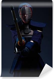 Vinyl Fotobehang Portret van een kendo vechter met shinai