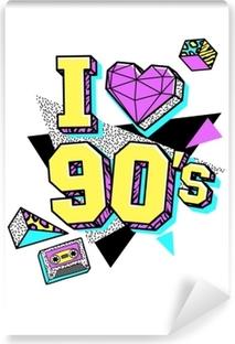 Vinyl Fotobehang Poster uit de jaren 80-90 in de stijl van Memphis.