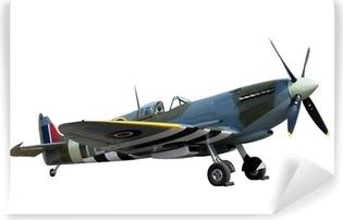 Vinyl Fotobehang Prachtig gerestaureerde vintage WW2 Spitfire op wit wordt geïsoleerd
