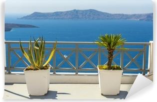Vinyl Fotobehang Prachtig uitzicht op zee vanaf Fira in Santorini, Griekenland