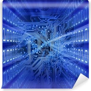 Vinyl Fotobehang Printplaat (blue energy)