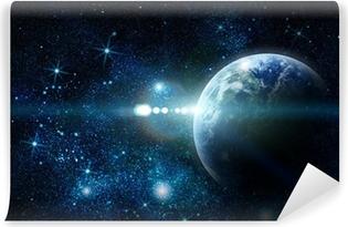 Vinyl Fotobehang Realistisch planeet aarde in de ruimte
