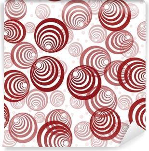 Vinyl Fotobehang Retro achtergrond met abstracte rode cirkels