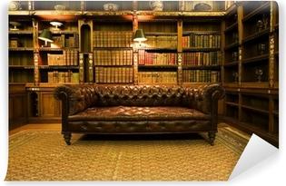 Retro Leren Bank.Fotobehang Victoriaanse Bibliotheek Boekenkast Met Glazen Deuren