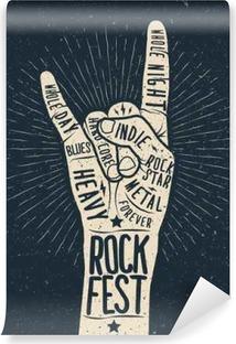 Vinyl Fotobehang Rock festival poster, flyer. Vector hand tekenen gestileerde afbeelding.