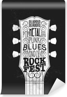 Vinyl Fotobehang Rock Music Festival Poster. Vintage stijl vector illustratie.