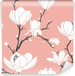 Vinyl Fotobehang Roze magnolia patroon