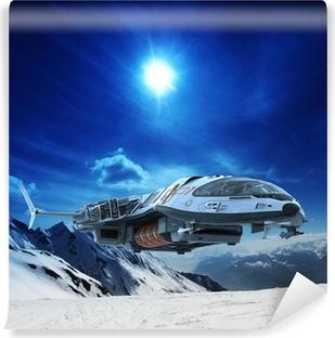 Vinyl Fotobehang Ruimteschip in de sneeuw planeet
