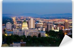 Vinyl Fotobehang Salt Lake City, Utah in de nacht