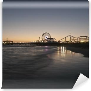 Vinyl Fotobehang Santa Monica Beach Night