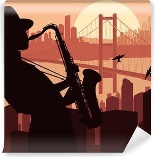 Vinyl Fotobehang Saxofonist achtergrond illustratie