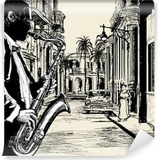Vinyl Fotobehang Saxofonist in een straat van Cuba