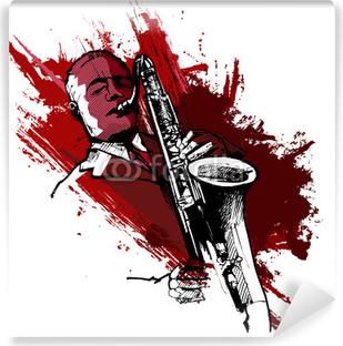 Vinyl Fotobehang Saxofonist op een grunge achtergrond