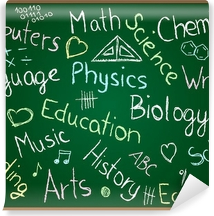 Vinyl Fotobehang Schoolvakken en krabbels op bord