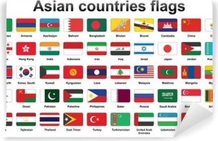 Vinyl Fotobehang Set van de Aziatische landen vlaggen pictogrammen met afgeronde hoeken