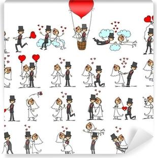 Vinyl Fotobehang Set van trouwfoto's, bruid en bruidegom in de liefde, vector