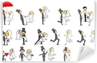 Vinyl Fotobehang Set van trouwfoto's, bruid en bruidegom in de liefde