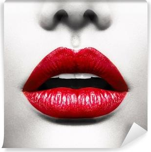 Vinyl Fotobehang Sexy Lippen. Conceptuele Beeld met Vivid Red Open Mond