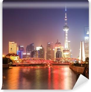 Vinyl Fotobehang Shanghai tuin brug bij nacht