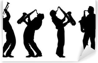 Vinyl Fotobehang Silhouet van jazzmuzikant