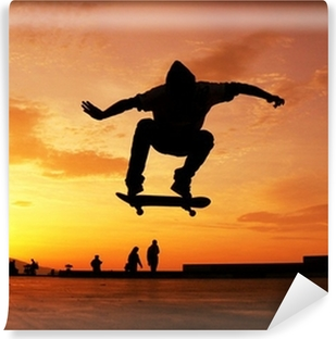 Vinyl Fotobehang Skateboard silhouet