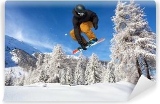 Vinyl Fotobehang Snowboarder in neve fresca