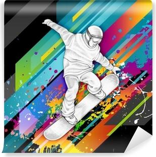 Vinyl Fotobehang Snowboarder