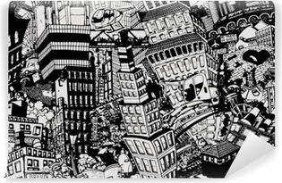 Vinyl Fotobehang Stad, een illustratie van een grote collage, met huizen, auto's en mensen