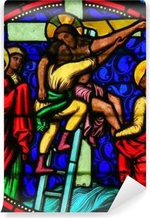 Vinyl Fotobehang Stained Glass - Jezus van het kruis gehaald