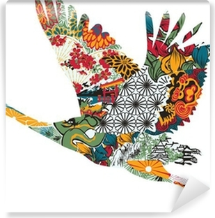 Vinyl Fotobehang Stork in het Japans ornament