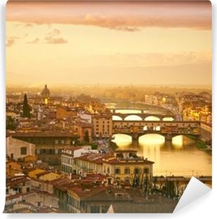 Vinyl Fotobehang Sunset uitzicht op de brug Ponte Vecchio. Florence, Italië