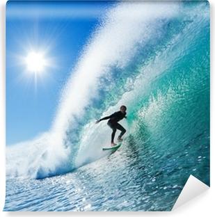 Vinyl Fotobehang Surfer op Blue Ocean Wave