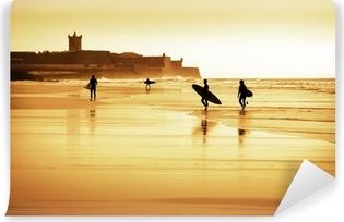 Vinyl Fotobehang Surfers silhouetten