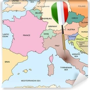 Vinyl Fotobehang Target - Italië. Dart raken in Italië op de kaart van Europa.