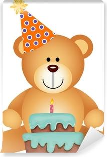 Vinyl Fotobehang Teddybeer met Birthday Cake