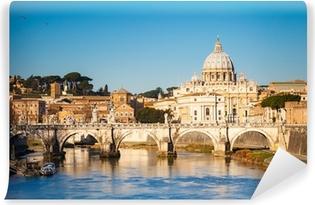 Vinyl Fotobehang Tiber en St. Peter's kathedraal, Rome