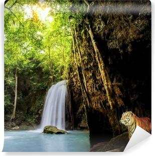 Vinyl Fotobehang Tijger in de jungle.