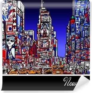 Vinyl Fotobehang Times Square in New York in de nacht